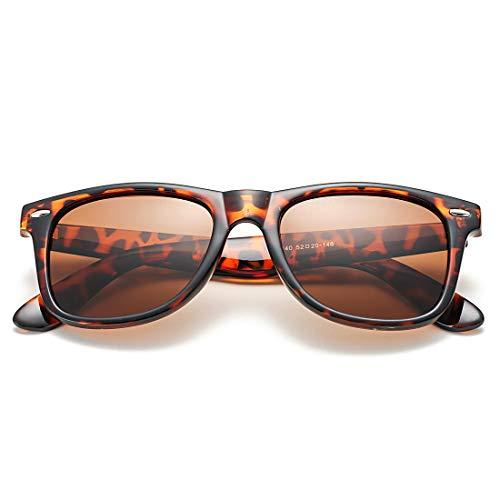 COASION Gafas de sol polarizadas clásicas hombres y mujeres, estilo retro UV400, Marrón (A1 Tortoise Frame/Brown Lens), Medium