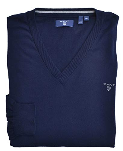 GANT trui V-hals Summer Cotton katoen Slim Fit donkerblauw marine 3XL