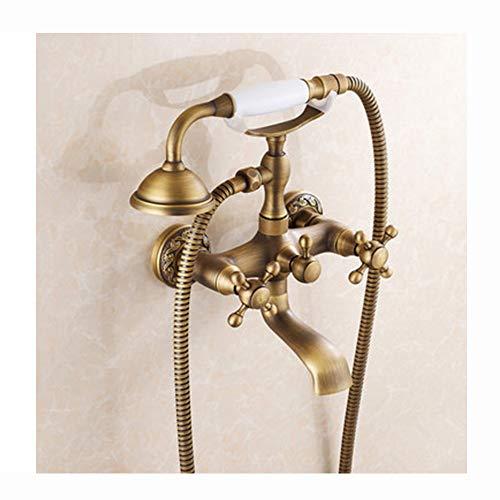 Tan Retro Badewannenarmatur Wandhalterung Badewanne Wasserhähne mit Handbrause Duschbrause Zweigriffmischer Antik Messing,A