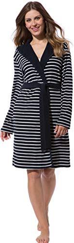 Morgenstern Bademantel Damen in Blau - Weiß gestreift kurz Frauen Damenbademantel Duschbademantel Kurzbademantel Baumwolle Polyester Größe L