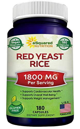 Red Yeast Rice 1800mg - Dietary Supplement Vegan Powder Pills to Support Cardiovascular Health - 180 Veggie Capsules