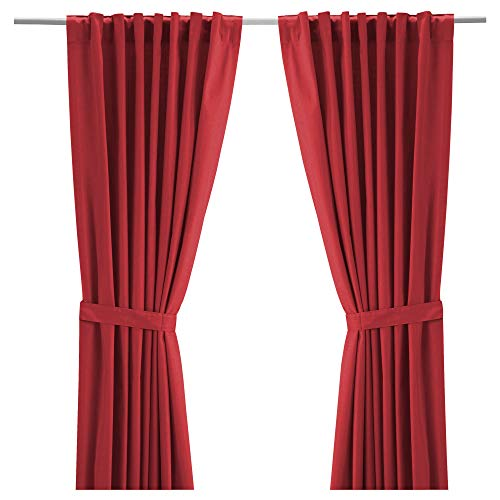 Ikea Ritva Red Curtain Drapes Panel with Red Tie backs 57 x 98 inches Red for Bedroom Living Room Window (1 Pair, 2 Panels, 2 Tie backs)