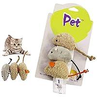 VOVIGGOL 猫 キャットニップ おもちゃ 屋内 猫用 3 パック 猫 おもちゃ マウス ネコ インテラクティブ コットン リネン付 子猫 おもちゃ マウス 猫 おもちゃ 猫 羽 おもちゃ 咀嚼 狩猟 歯用