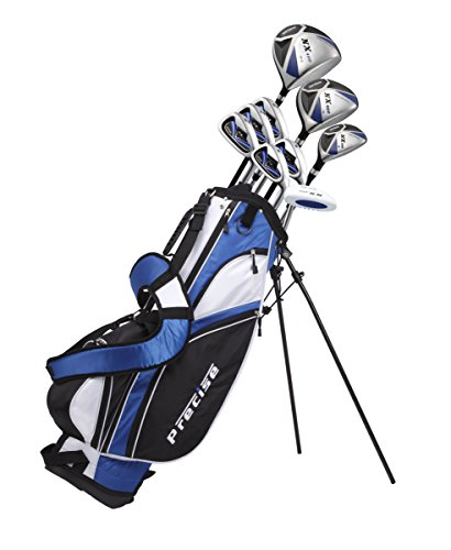 Precise NX460 Men's Complete Golf Clubs Package Set Includes Driver, S.S. Fairway, S.S. Hybrid, 5 Stainless Irons, Putter, Stand Bag, 3 H/C's Right Hand (Right Hand Tall Size +1')