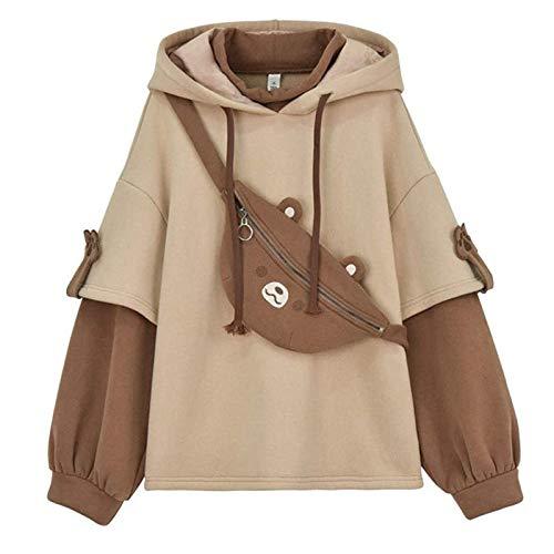 bobo4818 Sport Damen Langarmshirt Ästhetische Bär Anime Hoodie Frauen Koreanisch Kawaii Rundhalsausschnitt Streetwear Herbst Winter Kleidung Tops für Party Reisen Tägliche (Large, Brown)