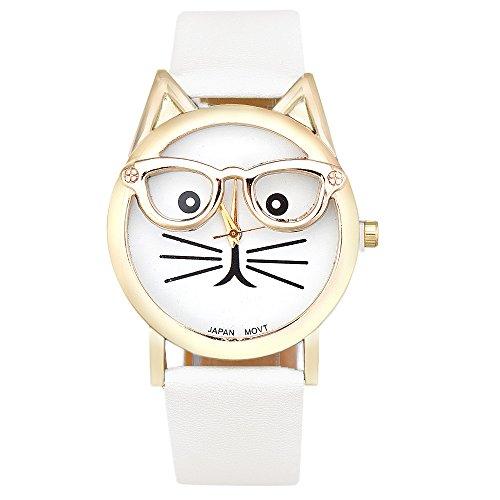 Sannysis® Carino Occhiali Cat analogico al quarzo Quadrante orologio da polso (Bianco)