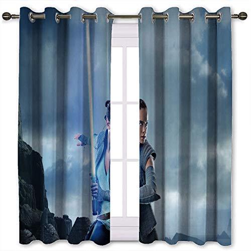 SSKJTC Cortinas para puerta corredera de cristal Rey Star Wars con patrón de sable de luz cortinas de impresión para ventanas de cocina (160 x 115 cm)