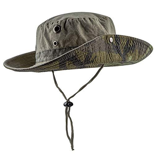 HH HOFNEN Fishing Sun Boonie Hat Wide Brim Breathable Washed Cotton Outdoor Hunting Safari Bucket Hat for Men Women Khaki
