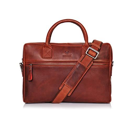 Donbolso Notebooktasche Marseille 13,3 Zoll Leder I Umhängetasche für Laptop I Aktentasche für Notebook I Tasche für Damen und Herren (Rotbraun)