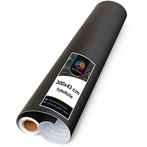 OfficeTree Film Tableau Noir Rouleau 43 x 300 cm - Autoadhésif - Tableau Noir Ardoise Mural - écrire Dessiner Peindre Souligner à la Craie - Intérieur Décoration DiY Présentation