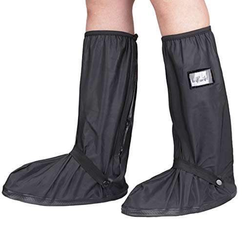 KRATARC Waterproof Shoes Covers Foldable Rain Boot Reflective Snow for Men Women Outdoor Cycling Walking Hiking (Black, XL)