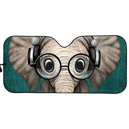 Lindo elefante con gafas para ventana delantera del coche, parasol para coche, protector interior del vehículo y mantiene fuera los rayos UV, universal