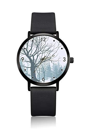 Reloj de Pulsera para Hombre con diseño de árboles y pájaros de Invierno, Carcasa Ultrafina, Correa de Esfera analógica Minimalista, Movimiento de Cuarzo japonés para Hombre
