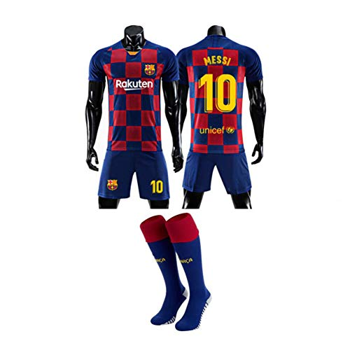 LCHENX-2019-2020 FC Barcelona Local Visitante 10# Messi Camiseta de Fútbol Soccer Jersey Set para Fanáticos Hombres Chico,Rojo,4 Years