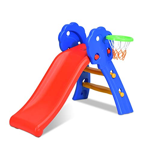 Maxmass Kids Foldable Slide, Toddlers Large Junior Slide with Basketball Hoop Set, Outdoor Indoor Climb Toy for 3-8 Years Old