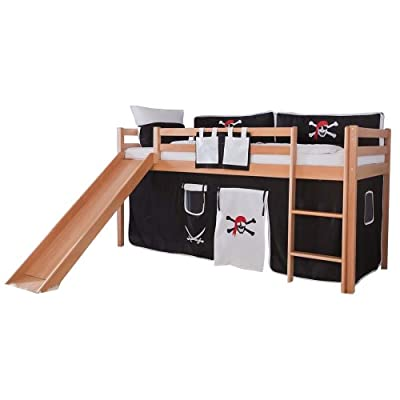 Relita Toby Triple Sleeper Bunk Bed With Solid Beech Slide + Fabric Set Pirate Black/White