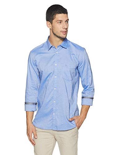 Parx Men Solid Blue Coloured Cotton Shirts (Size:- 39) - XMSS08587-B4 Men's Solid Slim Fit Casual Shirt (XMSS08587-B4_Blue_39)