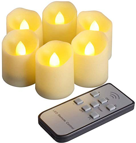 DFZ 6Pcs LED Flameless Candles with Remote Control and Timer Function, Brightness and Flicker/Continuous Bright Adjustable, Last More Than 200 Hours
