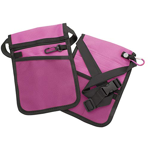 AsaTechmed Medical Pouch Hip Bag Antimicrobial, Nurse, Homecare, Medical Organizer Belt (Pouch Only) Many Colors! (Hot Pink)