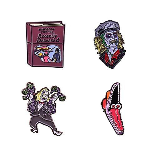 Litzxl Halloween, 4PCS Horror Movie Pin esmaltado Broche de Halloween Bolsa Pin de Solapa Dibujos Animados Insignia de Vacaciones Joyería