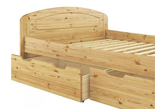 Erst-Holz® Funktionsbett Doppelbett 3 Bettkasten Rollrost 180x200 Holzbett Massivholz Kiefer 60.50-18