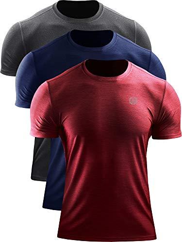 Neleus Men's Running Shirts Dry Fit Athletic Workout Shirts,5062,3 Pack,Dark Grey/Navy/Red,US S,EU M