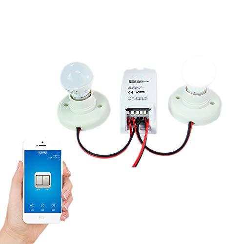 Sonoff Dual Smart Hogar 2 Vías WiFi Smart Switch, Interruptor Temporizador de Control Remoto Inalámbrico Inteligente DIY 220v Domótica Compatible con Android iOS Smartphone