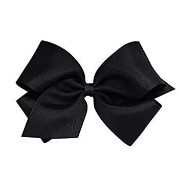 Wee Ones Baby Girls  King Grosgrain Hair Bow on a WeeStay Clip w/Plain Wrap - Black,One Size