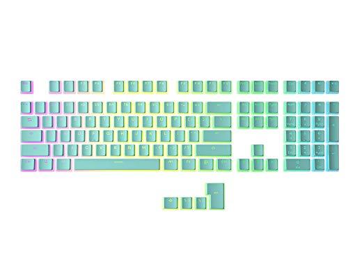 HK Gaming 108 Double Shot PBT Pudding Keycaps Keyset per tastiera da gioco meccanica MX Switch (ciano)