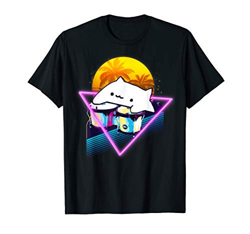 Bongo Cat Retro 80er Jahre Vaporwave Outrun Style T-Shirt