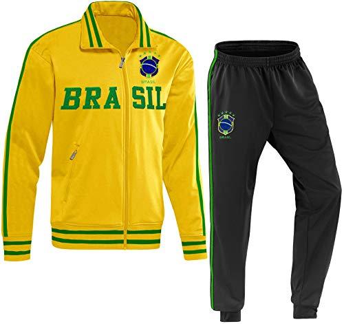 Blackshirt Company Brasilien Kinder Trainingsanzug Fußball Fan Zweiteiler Gelb Größe 164