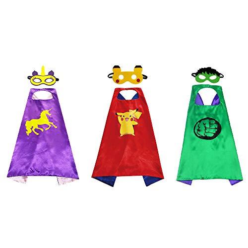 Superhelden Cosplay Kostüme für Kinder inklusive 3Stk. Superhelden Umhang und 3Stk. Superhelden Masken für Jungen Mädchen Geburtstag Party und Halloween Kinderkostum Partei Cosplay-Umhänge