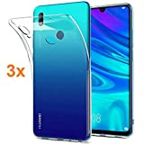 REY Pack 3X Case Flexible Silicone TPU for Huawei Y6 Prime 2019 / Honor 8A, Ultra Thin 0.33mm, Crystal Clear