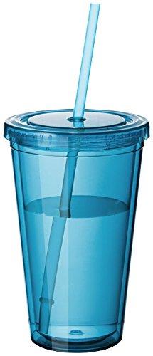 Vaso transparente. Incluye pajita. Disponible en 9 colores. Apto para bebidas frías y calientes. Capacidad: 450 ml.