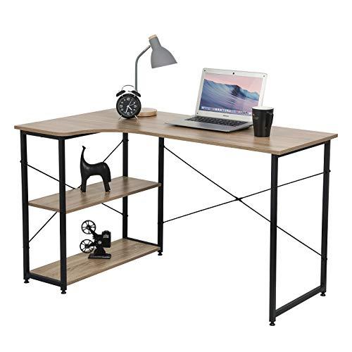 eSituro SCD0078 Schreibtisch Ecktisch Eckschreibtisch L-förmiger Computertisch Büromöbel PC Tisch Bürotisch Arbeitstisch mit 2 Ablagen aus Holz und Stahl Schwarz und Beigebraun ca.120x74x72 cm