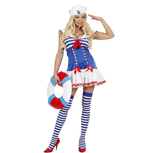 Amakando Damen Matrosenkostüm Sexy Matrosinnen Kleid L 42/44 Marine Frauenkostüm blau-weiß Matrosin Kostüm Party Outfit Frauen Seefrau Uniform Seefahrerin Matrosenuniform Damenkleid