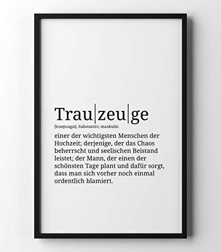 Preisvergleich Produktbild Papierschmiede Definition: Trauzeuge / DIN A4 fertig im Rahmen / Poster mit Worterklärungen wie im Duden für Deine Wanddeko / Kunstdruck im schwarzen Holzrahmen