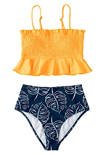 CUPSHE Women's Smocked Yellow and Monstera Ruffled High Waisted Bikini, M