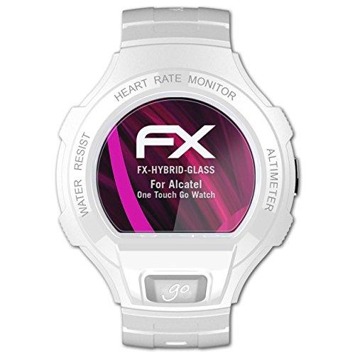 atFoliX Lámina Protectora de plástico Cristal Compatible con Alcatel One Touch Go Watch Película Vidrio, 9H Hybrid-Glass FX Protector Pantalla Vidrio Templado de plástico