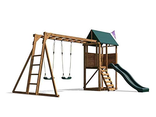 Dunster House SquirrelFort Climbing Frame Monkey Bars with Playhouse Slide
