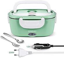 homeasy Boîte Chauffante Électrique, Lunch Box Chauffant 220V 12V Boîte Repas Amovible en Acier Inoxydable 1,5L,...