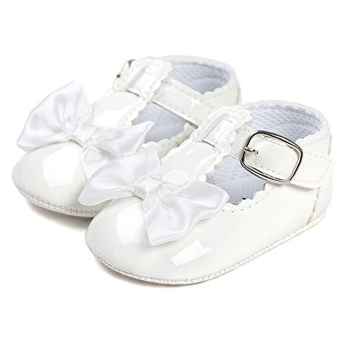 LACOFIA Kleinkind Babyschuhe Mädchen T-Bar rutschfest Bowknot Prinzessin Taufschuhe Weiß 12-18 Monate