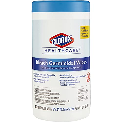 Clorox Healthcare Bleach Germicidal Wipes, 150 Count Canister (30577)