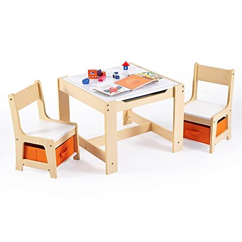 VONLUCE Kindertisch mit 2 Stühlen Kindersitzgruppe Holz Kindertruhenbank für Kinderzimmer Maltisch Kinderstühlen mit 2 Aufbewahrungsboxen 3-teiliges Set Kindermöbel für Malen Lesen Essen Spielen