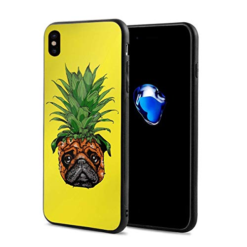 EU Pug Pineapple iPhone XS Case/iPhone X Case Soft TPU Shell Full Protective Bumper Anti-Scratch Case Enhanced Grip Protective Defender Cover