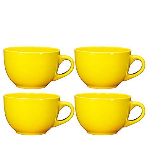 ジャンボコーヒーとシリアル4個セット ワイドセラミックマグ 24オンス 多目的ワイドマグ スープ/カプチーノ/ラテコーヒー/紅茶/シリアルボウル、アイスクリームデザートボウル、イエロー