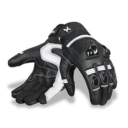 Premium Leder Motorradhandschuhe Touchscreen Motorradhandschuhe mit Knöchelschutz Rennhandschuhe Reithandschuhe (Rennen Weiß, Groß)