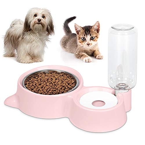 Anyifan Dog Cat Bowls Food and Water Bowls Set, Automatic Water Dispenser Durable & Detachable Stainless Feeder Double Pet Bowls for Small Cats and Dogs Puppies, Pink