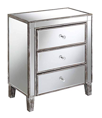 Convenience Concepts Gold Coast Large 3 Drawer Mirrored End Table, Weathered Gray / Mirror