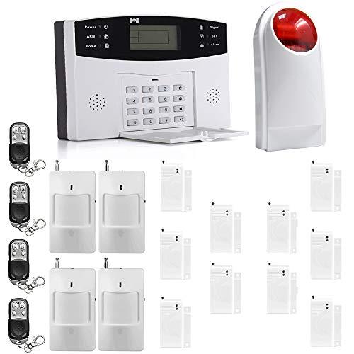 Sistema de Alarma GSM SMS,ECTECH LCD Pantalla de Menú en Castellano Teclados Llamadas de 6 Teléfonos Diferentes Antirrobo Sistema de Seguridad para el Hogar, Oficina, Tienda, Pilas Incluidas